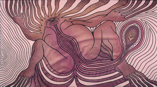 Judy Chicago<br> <i>Study for Birth 2,</i> 1981-1983<br> Sprayed paint, ink, and embroidery on fabric<br> 21 x 38 inches / 53.34 x 96.52 cm