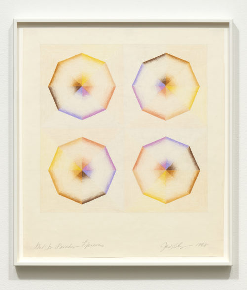 Judy Chicago<br> <i>Study for Pasadena Lifesavers #1,</i> 1968<br> Prismacolor on paper<br> 22 x 19 1/2 Inches / 55.9 x 49.5 cm