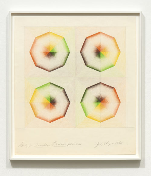 Judy Chicago<br> <i>Study for Pasadena Lifesavers Yellow series,</i> 1968<br> Prismacolor on paper<br> 22 x 19 1/2 Inches / 55.9 x 49.5 cm