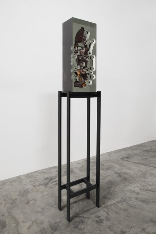 Matthew Angelo Harrison<br> <i>Dark Silhouettes: Adaption Between Fixed Points #2,</i> 2018<br> Wooden sculpture from West Africa, polyurethane resin, anodized aluminum, acrylic<br> 50 1/2 x 10 3/4 x 7 1/2 inches / 128.27 x 27.31 x 3.56 cm