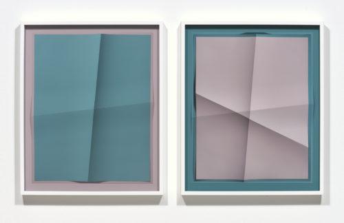 John Houck<br> <i>Accumulator #19.1_01, 2 Colors #BBA7A9, #20777E Accumulator #19.1_02, 2 Colors #20777E, #BBA7A9,</i><br> 2018<br> Creased archival pigment print (unique)<br> Each: 20 x 16 inches / 50.8 x 40.6 cm