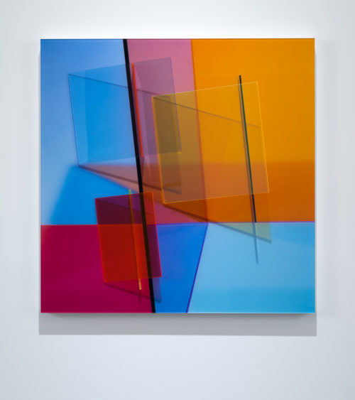 Barbara Kasten<br> <i>Progression One,</i> 2017<br> Fujiflex Digital Print, fluorescent acrylic<br> 36 × 36 × 5 5/8 inches / 91.4 × 91.4 × 14.3 cm