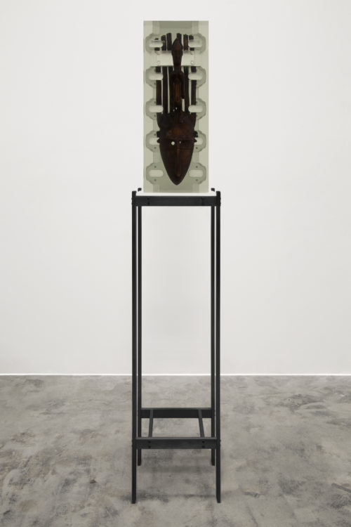 Matthew Angelo Harrison<br> <i>Dark Silhouette: Composition of Borrowed inlets #2,</i> 2018<br> Wooden sculpture from West Africa, polyurethane resin, anodized aluminum, acrylic<br> Sculpture: 24 1/2 x 10 x 6 3/4 inches / 62.2 x 25.4 x 17.1 cm