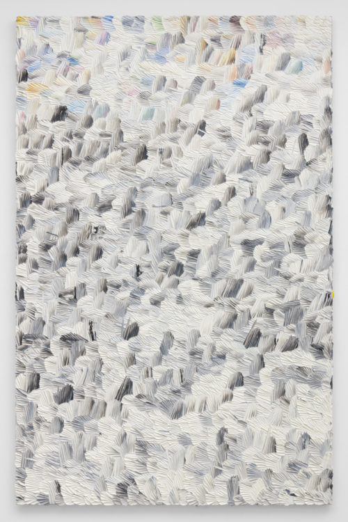 Dashiell Manley<br> <i>e.f.w. (t.s.f.n.),</i> 2018<br> Oil on linen<br> 82 x 53 inches / 208.3 x 134.6 cm