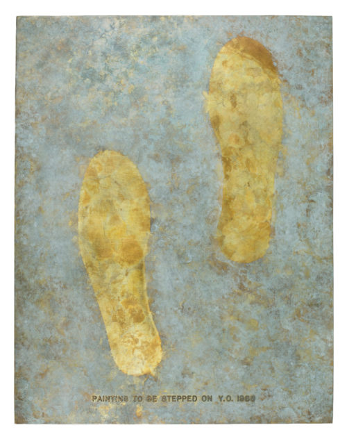 Yoko Ono<br> <i>Painting to Be Stepped On,</i> 1966 / 1988<br> Bronze<br> 18 x 14 x 1 1/2 inches / 45.7 x 35.6 x 3.8 cm