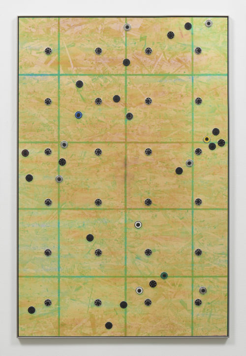 "Davina Semo<br> <i>""AND YES,"" SHE WROTE, ""PEOPLE DO STARE, I LIKE IT."",</i> 2018<br> Transparent cast acrylic, iridescent film, oriented strand board, assorted ball bearings, hardware, stainless steel<br> 38 1/2 x 25 1/2 inches / 97.8 x 64.8 cm"