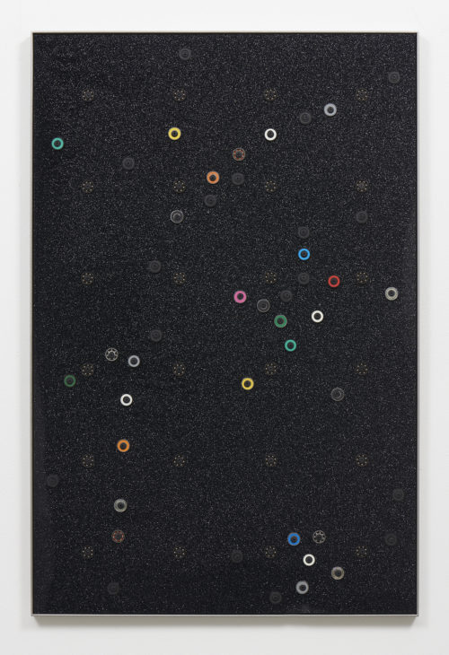 Davina Semo<br> <i>WE COULD SEE NO TREES AND WE COULD SEE NO MOUNTAINS FROM WHERE WE LIVED,</i> 2018<br> Cast acrylic with glitter, oriented strand board, assorted ball bearings, hardware, stainless steel<br> 38 1/2 x 25 1/2 inches / 97.8 x 64.8 cm