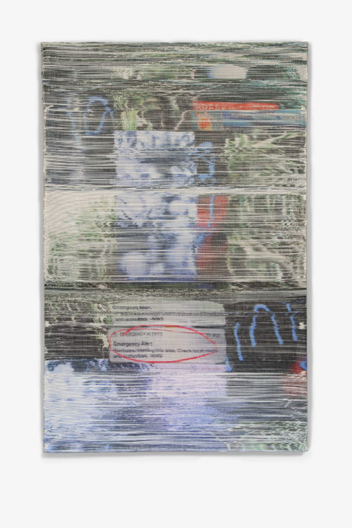 Margo Wolowiec<br> <i>NWS,</i> 2018<br> Handwoven polymer, linen, sublimation dye<br> 72 x 47 Inches / 182.9 x 119.4 cm