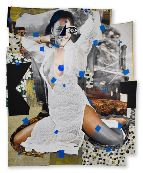 Mickalene Thomas<br> <i>Jet Blue #3,</i> 2018<br> Oil paint, glitter, tape, charcoal and oil pastel on paper<br> 54 1/4 x 44 1/2 inches / 137.7 x 113 cm
