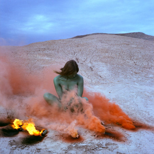 Judy Chicago<br> <i>Immolation; from Women and Smoke,</i> 1972, printed 2018<br> Archival pigment print<br> Image: 40 x 40 inches / 101.6 x 101.6 cm