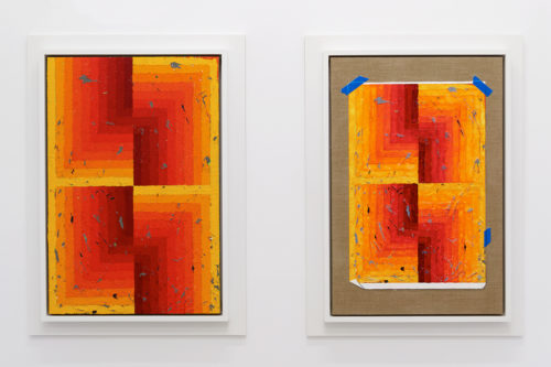 <i>Execution Changes #95A & 95B (CS, Q1, URJ, DC, Q2, LLJ, DC, Q3, LLJ, DC, Q4, URJ, DC)</i><br> Acrylic on linen and acrylic and gouache on linen <br> 30 x 20 inches each<br>2018