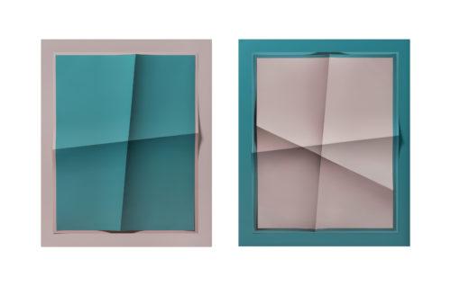 <i>Accumulator #19.1_01, 2 Colors #BBA7A9, #20777E Accumulator #19.1_02, 2 Colors #20777E, #BBA7A9 </i><br>Creased archival pigment print (unique)<br> 20 x 16 inches <br>2018