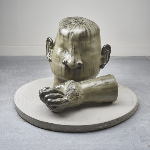 <i>Giving Up</i><br> Ceramic, glaze, concrete<br> 27 x 38 x 38 inches / 68.6 x 96.5 x 96.5 cm<br> 2018