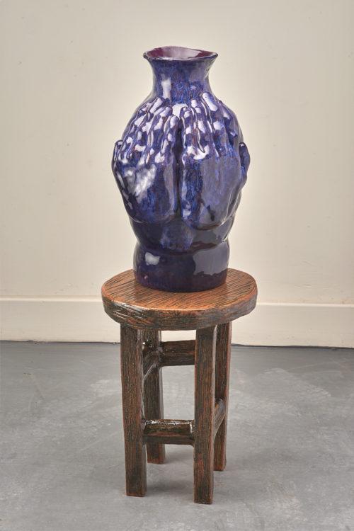 Woody De Othello<br> <i>Guarded,</i> 2018<br> Ceramic, glaze<br> 34 1/2 x 12 x 12 inches / 87.6 x 30.5 x 30.5 cm
