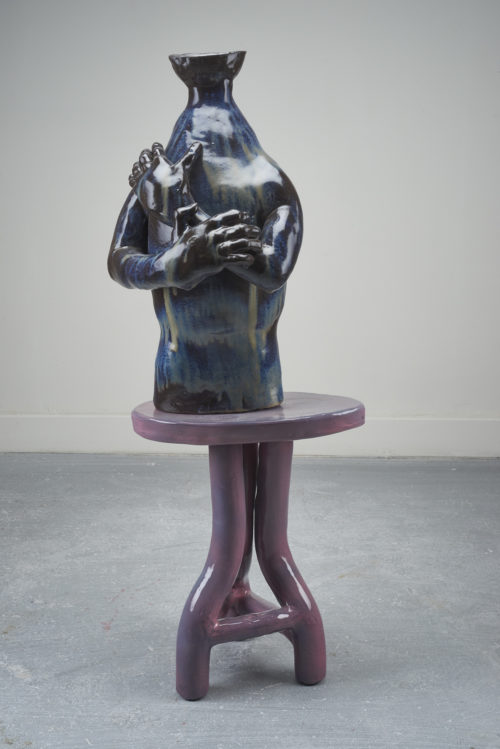 <i>Sometimes spending too much time alone leads to loneliness</i><br> Ceramic, glaze<br> 44 x 17 x 5 inches<br> 2018