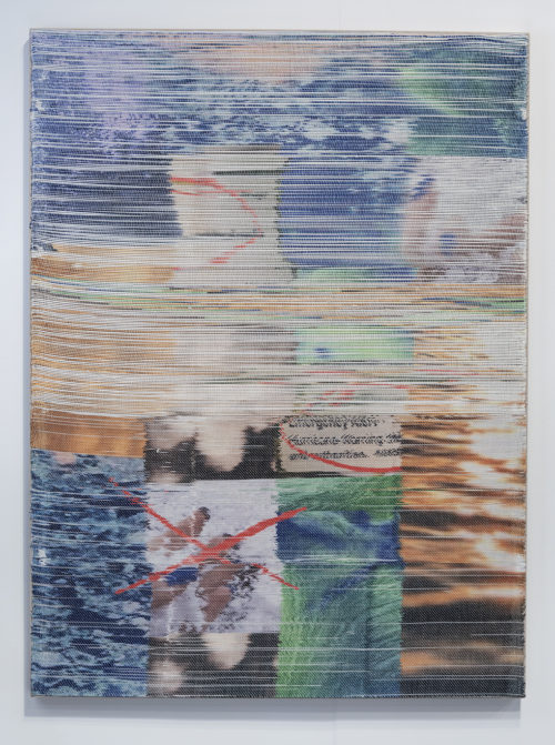Margo Wolowiec<br> <i>NWS II, </i>2018<br> Handwoven polymer, linen, dye sublimation ink<br> 51 x 38 inches / 129.5 x 96.5 cm