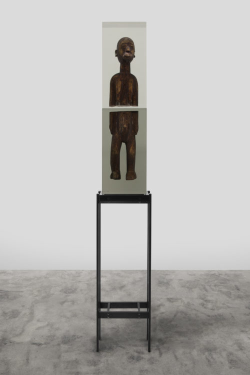 <i<Dark Silhouette: Halves Dissimilated,</i><br> Wooden sculpture from West Africa, polyurethane resin, anodized aluminum, acrylic<br> Sculpture: 38 3/4 x 9 3/4 x 6 inches 98.4 x 24.8 x 15.2 cm<br> 2018