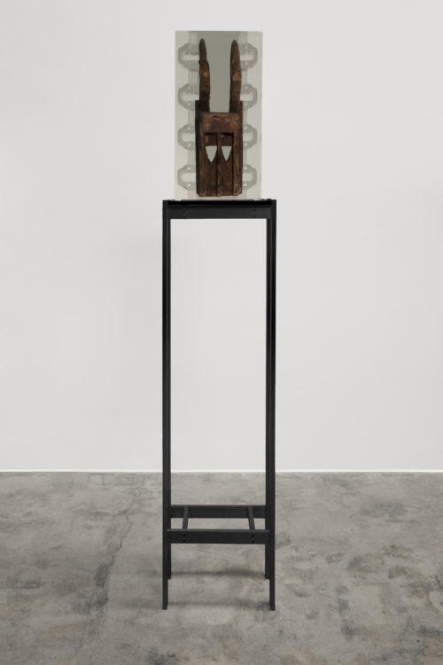 <i>Dark Silhouette: Borrowed Inlets - Dogon,</i><br> Wooden sculpture from West Africa, polyurethane resin, anodized aluminum, acrylic<br> 67 1/2 x 10 x 13 inches / 171.5 x 25.4 x 33 cm<br> 2018