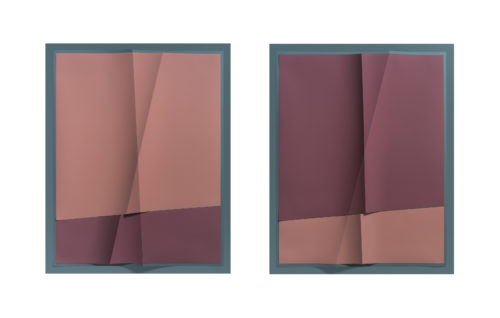 <i>Accumulator #24, 3 Colors #6E7D84, #B6A6A3, #938A8A</i><br> Creased archival pigment print (unique)<br> Framed, each: 32 11/16 x 26 11/16 x 1 3/4 inches / 83 x 67.8 x 4.4 cm<br> 2018