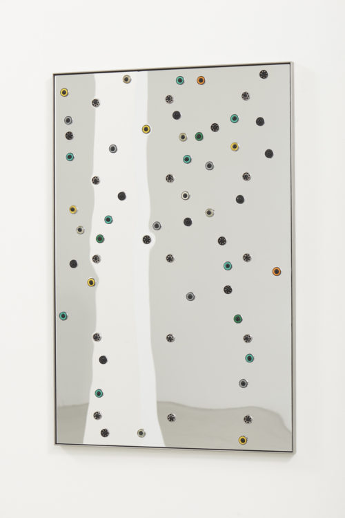 <i>HER VOICE WAS MELLOW AND LOADED WITH MORE MEANING THAN I COULD FATHOM</i><br> Acrylic mirror, oriented strand board, assorted ball bearings, hardware, stainless steel<br> 38 1/2 x 25 1/2 inches / 97.8 x 64.8 cm<br> 2018