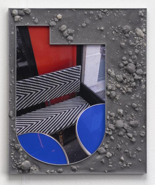 Nicole Wermers<br>  <em>Seasons #7</em>, 2019<br>  Mounted C-print, powder-coated steel, sand, pigment, polyvinyl compound<br>  19.6 x 15.7 x 1.2 inches / 50 x 40 x 3 cm
