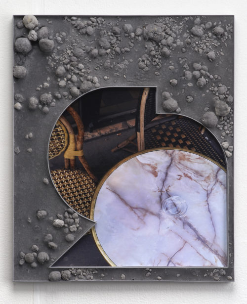 Nicole Wermers<br>  <em>Seasons #8</em>, 2019<br>  Mounted C-print, powder-coated steel, sand, pigment, polyvinyl compound<br>  19.6 x 15.7 x 1.2 inches / 50 x 40 x 3 cm