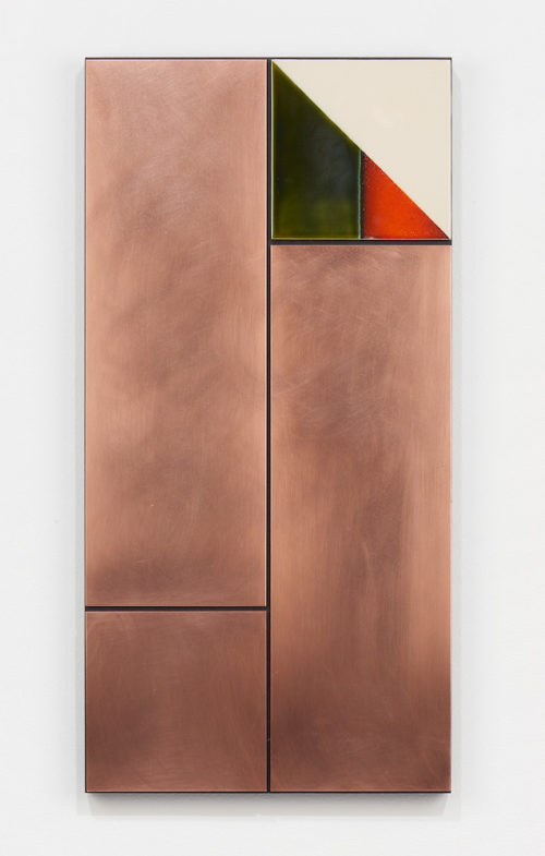 <i>Untitled</i><br>Copper and tile on MDF<br>36 1/8 x 18 1/8 inches (91.7 x 46 cm)<br>2018