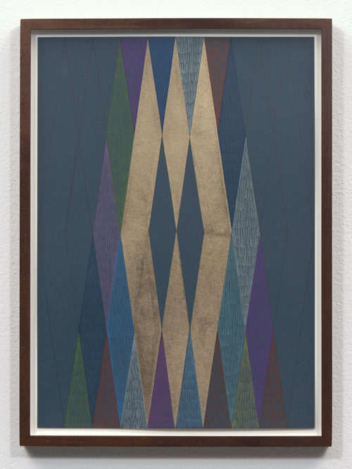 <i>Untitled</i><br>Gold leaf and colored pencil on colored paper<br>11 3/4 x 8 1/4 inches (29.7 x 21 cm) <br>Framed: 12 5/8 x 9 1/8 inches (32 x 23 cm)<br>2018