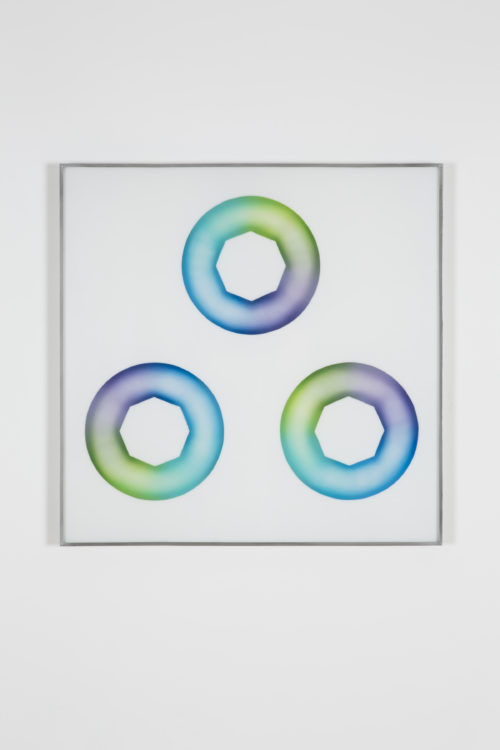 Judy Chicago<br><em>Green-blue Star Cunts</em>, 1969<br> Sprayed acrylic lacquer on acrylic sheet<br> 27 1/2 x 27 1/2 inches / 69.9 x 69.9 cm
