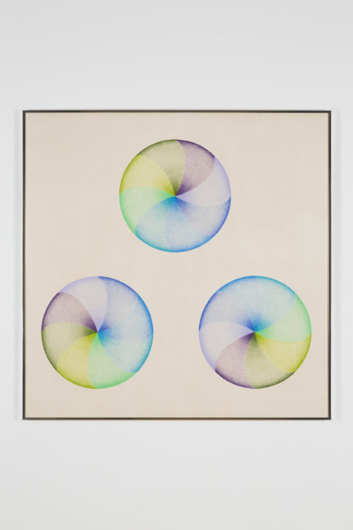 Judy Chicago<br><em> Large Dome Drawing #1</em>, 1968-1969<br> Prismacolor on paper<br> 54 x 54 inches / 137.2 x 137.2 cm