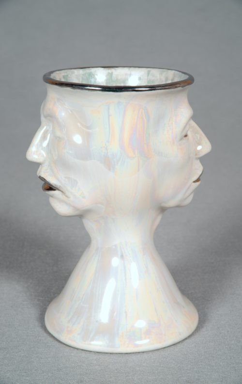 Judy Chicago <br><em>Two Faced Toby Mug #2</em>, 2010 <br> Multi-fired china paint on porcelain <br> 7 x 4.75 x 3.75 inches/ 17.78 x 12.07 x 9.53 cm