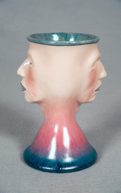Judy Chicago<br><em>Two Faced Toby Mug #8</em>, 2010 <br>Multi-fired china paint on porcelain<br> 7 x 4.75 x 3.75 inches / 17.78 x 12.07 x 9.53 cm