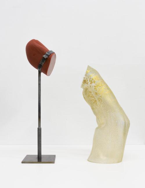 Martha Friedman<br> <em>Take Off I</em>, 2019<br> Glass, gold leaf, rubber, steel<br> 20 x 7 x 24 inches