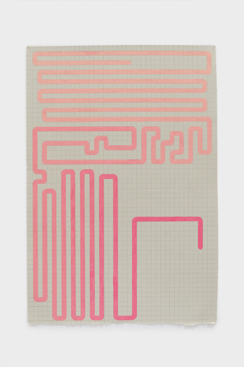 Julian Hoeber<br> <em>Pink Rumination,</em> 2019<br> Gouache and graphite on paper<br> Image: 22 1/8 x 15 inches / 56.2 x 38.1 cm<br> Frame: 24 1/2 x 17 1/2 inches / 62.2 x 44.5 cm<br>