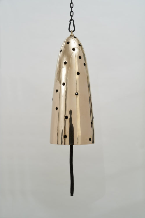 <i>Seducer</i>, 2019<br>Polished and patinated cast bronze bell, whipped nylon line, wooden clapper, powder-coated chain, hardware<br>Bell: 32 inches tall x 13 inches diameter / 81 cm tall x 33 cm diameter, overall dimensions variable
