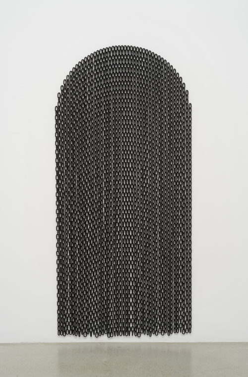 <i>Threshold</i>, 2019<br>Powder coated steel chain and hardware<br>85 x 40 inches / 215.9 x 101.6 cm