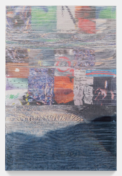 Margo Wolowiec <br><em>Thursday Temperature</em>, 2019 <br> Handwoven polymer, linen, dye sublimation ink, indigo dye<br> 70 x 47 inches / 177.8 x 119.4 cm
