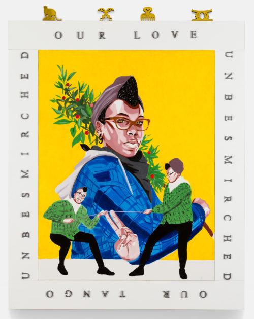 Conrad Egyir<br> <em>Ludus. Allegory of love</em>, 2019<br> Oil, acrylic, mixed media on canvas<br> 60 x 48 inches / 152.4 x 121.9 cm