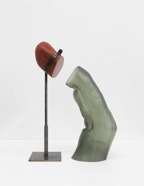 Martha Friedman<br> <em>Take Off II</em>, 2019<br> Glass, rubber, steel<br> 18 x 7 x 23 inches