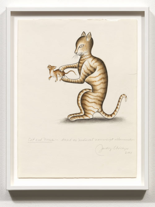 Judy Chicago<br> <i>Cat and Mouse, based on Medieval manuscript illumination for Marginalia Illumination</i>, 2001<br> Signed recto<br> Watercolor on Fabriano<br> Drawing size: 12 x 9 inches Frame size: 13 3/4 x 10 3/4 inches