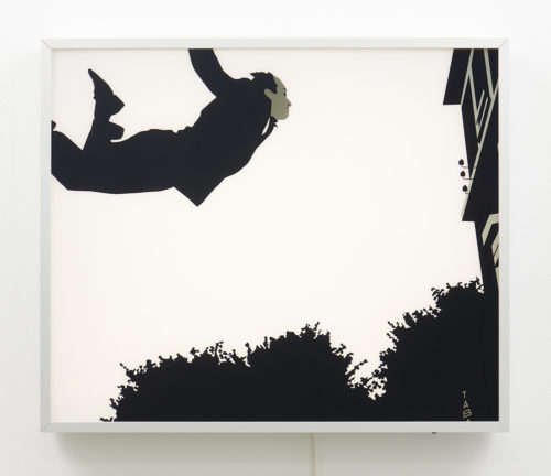 Kota Ezawa<br> <i>Leap into the Void from The History of Photography Remix</i>, 2005<br> Duratrans transparency and lightbox<br> Image: 20 x 24 inches / 50.8 x 61 cm Lightbox: 20 1/2 x 24 1/2 x 3 inches / 52.1 x 62.2 x 7.6 cm<br> Edition AP1 of 5 + 2 AP