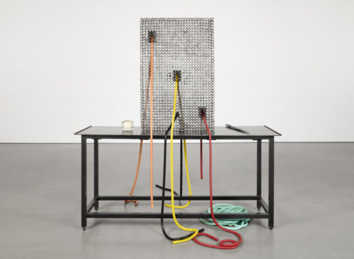 Martha Friedman<br> <i>TPOS</i>, 2018<br> Steel, rubber, glass<br> Steel table: 70 x 24 x 72 inches Screen of steel tubing: 48 x 36 x 6 inches