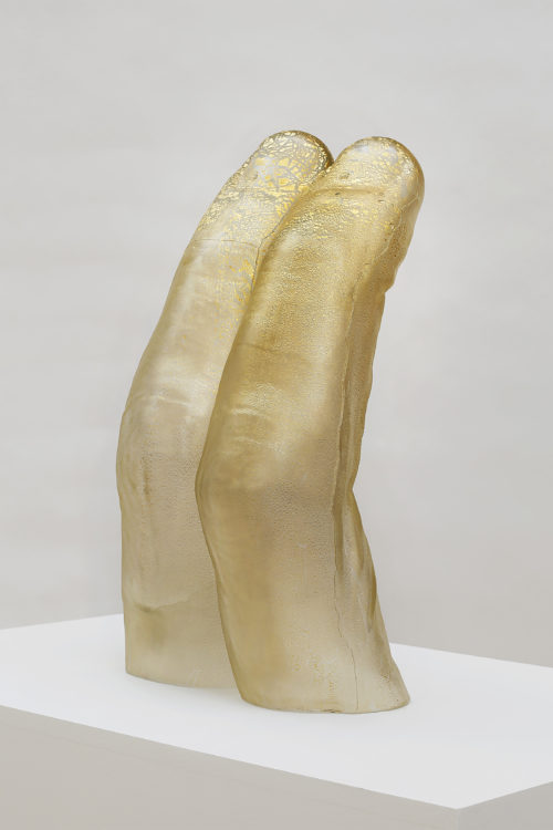 Martha Friedman<br> <i>Untitled</i>, 2018<br> Glass and gold<br> 24 1/2 x 15 1/2 x 12 inches 62.2 x 39.4 x 30.5 cm
