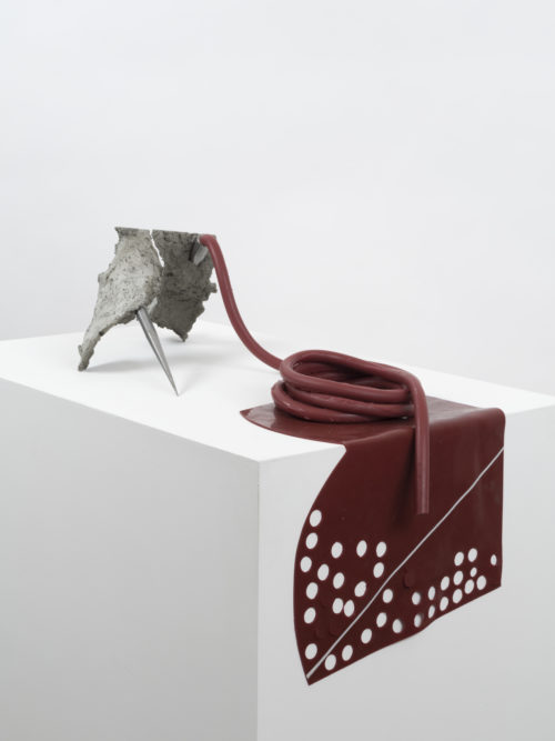 Martha Friedman<br> <i>Untitled</i>, 2018<br> Concrete, silicone rubber, and steel