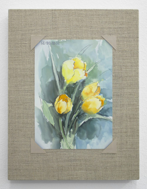 Mika Horibuchi<br> <i>Watercolor of Tulips</i>, 2019<br> Oil on linen<br> 11 x 8 1/2 inches