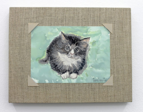 Mika Horibuchi<br> <i>Watercolor of a Kitten - January</i>, 2019<br> Oil on linen<br> 8 1/2 x 11 inches