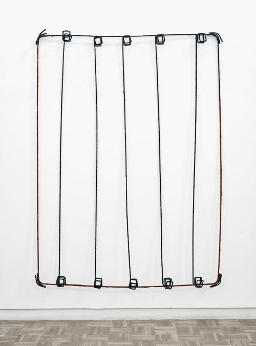 Bronwyn Katz<br> <i>Grootboom</i>, 2019<br> Wire and wool<br> 72 1/8 x 52 x 6 3/4 inches / 183 x 132 x 17 cm