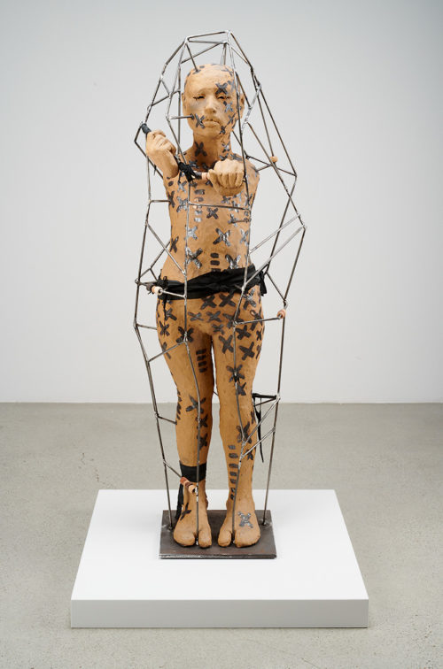 Rose B. Simpson<br> <i>Exoskeleton</i>, 2019<br> Ceramic, steel, leather<br> 45 x 13 x 11 inches