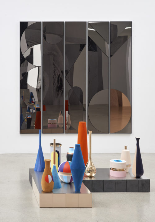 <em>Untitled</em>, 2018<br> Mirror-polished stainless steel on MDF, aluminum frame<br> 5 panels, overall: 80 3/8 x 84 5/8 inches (204 x 215 cm)