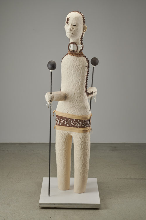 Rose B. Simpson<br><em>Frère 1</em>, 2019<br>Ceramic, leather, steel, and beads<br>55 x 11 1/2 x 22 inches 139.7 x 29.2 x 55.9 cm